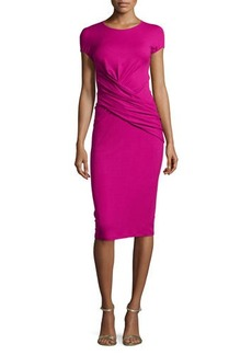 Michael Kors Cap-Sleeve Drape-Waist Dress, Peony
