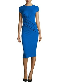 Michael Kors Cap-Sleeve Draped Dress, Royal