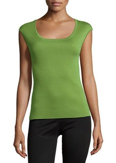 Michael Kors Cap-Sleeve Fitted Cashmere Shell