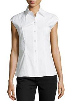 Michael Kors Cap-Sleeve Poplin Shirt