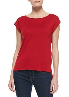 Michael Kors Cap-Sleeve Silk Jersey Tee, Crimson