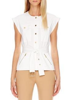Michael Kors Cargo Cap-Sleeve Shirt, White