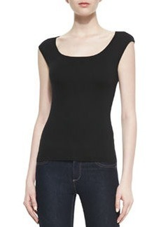 Michael Kors Cashmere Ballet-Neck Shell Top, Black