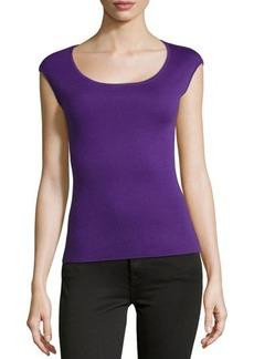 Michael Kors Cashmere Ballet-Neck Shell Top, Grape