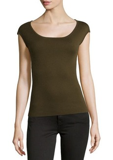 Michael Kors Cashmere Ballet-Neck Shell Top, Olive