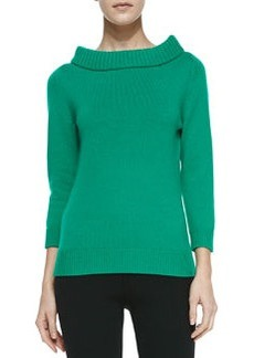 Michael Kors Cashmere Cuff-Neck Sweater, Emerald