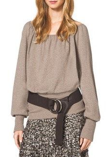 Michael Kors Cashmere Knit Blouson Peasant Top