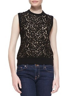 Michael Kors Cashmere Lace-Front Knit Shell Top