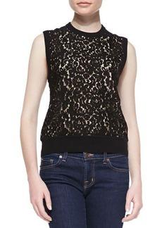 Michael Kors Cashmere Lace-Front Knit Shell Top  Cashmere Lace-Front Knit Shell Top