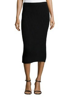 Michael Kors Cashmere Shaker-Knit Pencil Skirt, Black