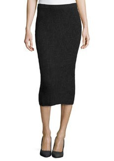 Michael Kors Cashmere Shaker-Knit Pencil Skirt, Charcoal