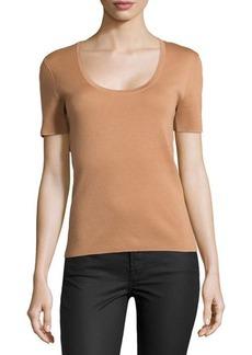 Michael Kors Cashmere Short-Sleeve Sweater Top, Suntan