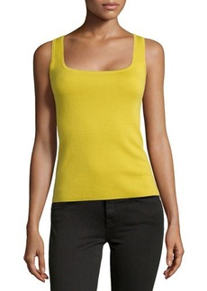 Michael Kors Cashmere Square Shell Top, Chartreuse
