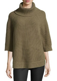 Michael Kors Cashmere-Wool Turtleneck Tunic, Military