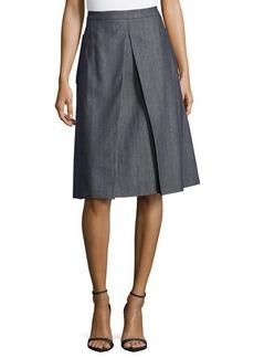 Michael Kors Center-Pleat Denim Skirt