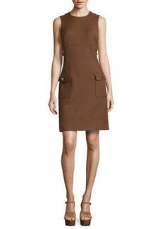 Michael Kors Chain-Detail Pocket Sheath Dress, Nutmeg