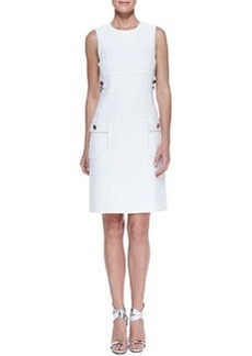 Michael Kors Chain-Detail Pocket Sheath Dress, White