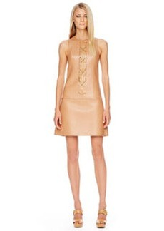 Michael Kors Chain-Front Leather Dress, Suntan