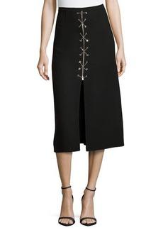 Michael Kors Chain-Front Midi Skirt, Black