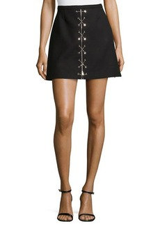 Michael Kors Chain-Front Mini Skirt, Black