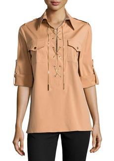 Michael Kors Chain-Front Safari Shirt, Suntan