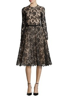 Michael Kors Chantilly Lace Belted Dress