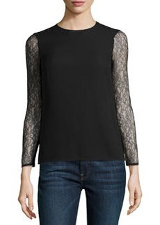 Michael Kors Chantilly Lace Sleeve Blouse, Black