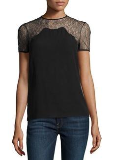 Michael Kors Chantilly Lace-Trim Short-Sleeve Shell, Black