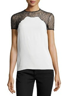 Michael Kors Chantilly Lace-Trim Short-Sleeve Shell, White