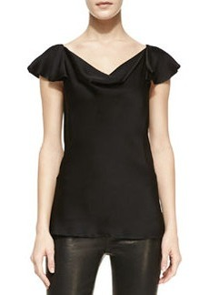 Michael Kors Charmeuse Flutter-Sleeve Top, Black