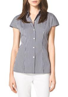 Michael Kors Check Stretch Poplin Shirt, Indigo