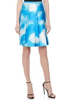 Michael Kors Cloud-Print Pleated Shantung Skirt