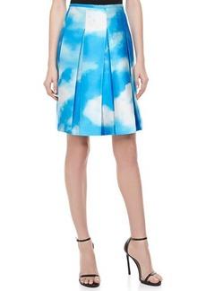 Michael Kors Cloud-Print Pleated Shantung Skirt