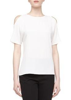 Michael Kors Cold-Shoulder Georgette Tee, Optic White