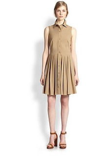 Michael Kors Collared Cotton Poplin Dress