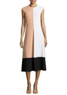 Michael Kors Colorblock Cap-Sleeve Midi Dress