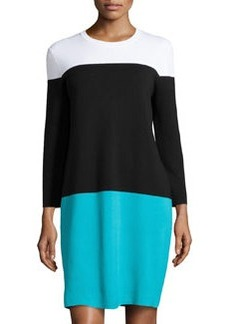 Michael Kors Colorblock Knit Dress, Aqua Multi