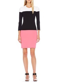 Michael Kors Colorblock Knit Dress, Carnation Multi