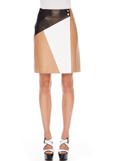 Michael Kors Colorblock Leather Skirt