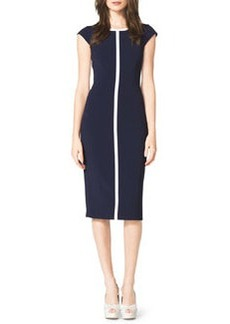 Michael Kors Contrast Cap-Sleeve Sheath Dress, Indigo