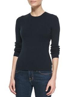 Michael Kors Cotton Long-Sleeve Crewneck Sweater, Midnight
