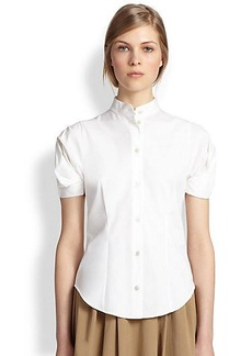 Michael Kors Cotton Poplin Puffed-Sleeve Blouse