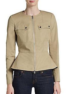 Michael Kors Cotton/Linen Peplum Jacket