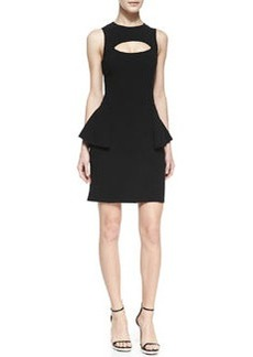Michael Kors Crepe Cutout Peplum Dress, Black