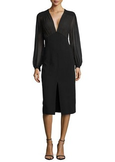Michael Kors Crepe Illusion Sheath Dress with Center Slit