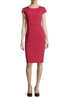 Michael Kors Crepe Pleated-Neck Sheath Dress, Rose