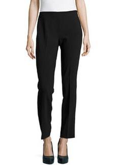 Michael Kors Crepe Skinny Side-Zip Pants, Black