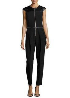Michael Kors Crepe Zip-Front Jumpsuit w/ Leather Yoke