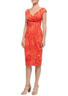 Michael Kors Cross-Front Marble Print Charmeuse Dress, Coral