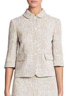 Michael Kors Crosshatch-Print Linen Cropped Jacket